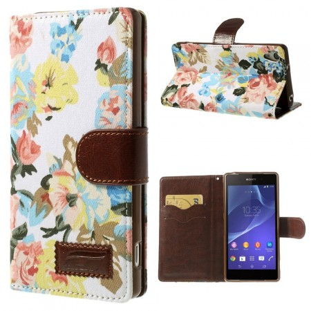Lommebok Etui for Sony Xperia Z2 Rose Hvit