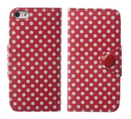 Flipp Lommebok iPhone 5 Polka R�d/Hvit