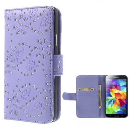 Lommebok for Samsung Galaxy S5 Glitter Blomst Lilla