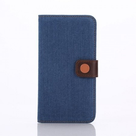 Etui m/kortlommer for Galaxy S6 Edge Denim M�rk Bl�