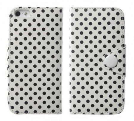 Flipp Lommebok iPhone 5 Polka Hvit/Svart