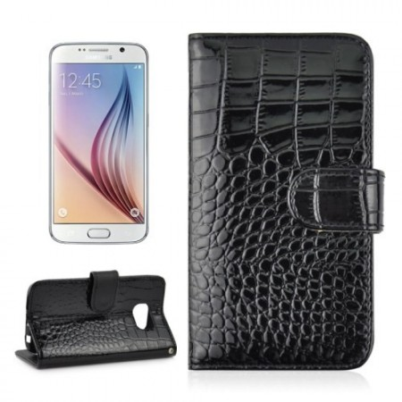 Etui m/kortlommer for Galaxy S6 Croco Svart