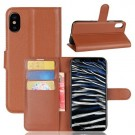 "iPhone X 5,8"" Etui m/kortlommer Lychee Brun thumbnail"