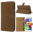 Lommebok Etui for Samsung Galaxy S5 Retro Lys Brun thumbnail