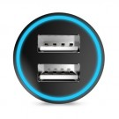 Dual USB Billader Adapter 2.4A Svart thumbnail