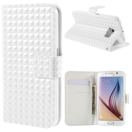 Etui m/kortlommer for Galaxy S6 Diamant Hvit