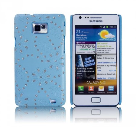 Cover for Samsung Galaxy S2 Glitter Blomst Blå