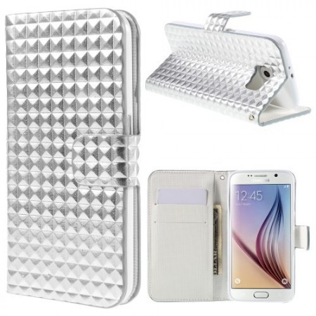 Etui m/kortlommer for Galaxy S6 Diamant Sølv