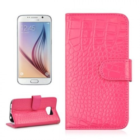 Etui m/kortlommer for Galaxy S6 Croco Mørk Rosa