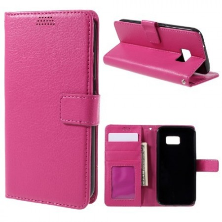 Etui m/kortlommer for Galaxy S7 Edge Lychee Rosa