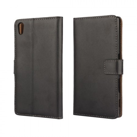 Lommebok Etui for Xperia M4 Aqua Genuine Svart