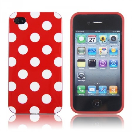 Deksel for iPhone 4 & 4S Polka Rød/Hvit