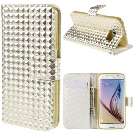 Etui m/kortlommer for Galaxy S6 Diamant Gull