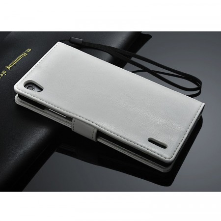 Lommebok Etui for Huawei Ascend P7 Classic Hvit