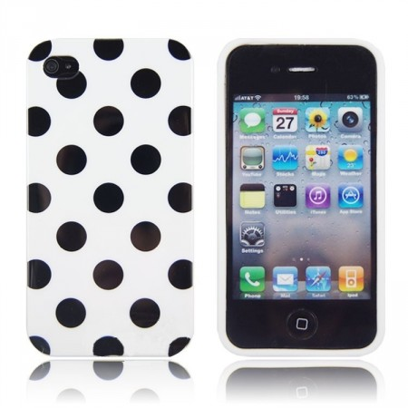 Deksel for iPhone 4 & 4S Polka Hvit/Svart