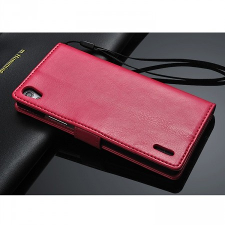 Lommebok Etui for Huawei Ascend P7 Classic Rosa