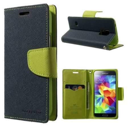 Etui for Galaxy S5 Mini Mercury Mørk Blå m/kortlommer