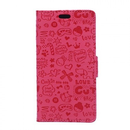 Lommebok Etui for Sony Xperia M4 Aqua Love Rosa