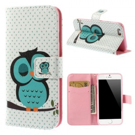 Etui m/kortlomme for iPhone 6 Ugle 6