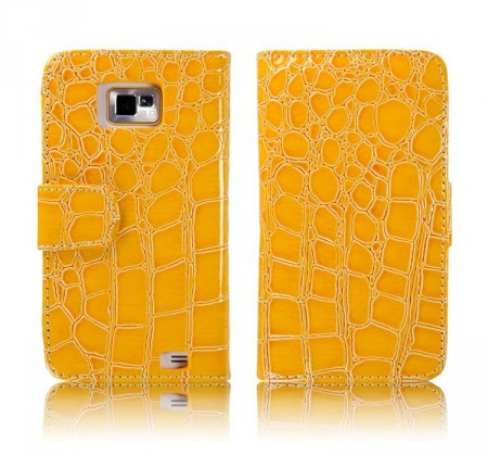 Flipp Lommebok for Samsung Galaxy S2 Croco Gul