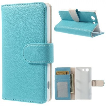 Lommebok Etui for Sony Xperia Z3 Compact Lychee Lys Blå