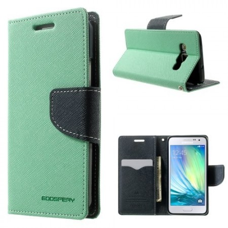 Etui m/kortlommer for Galaxy A3 Mercury Mint Grønn