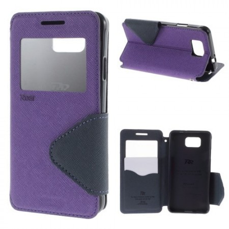 Etui for Galaxy Alpha Roar m/Skjermvindu Lilla