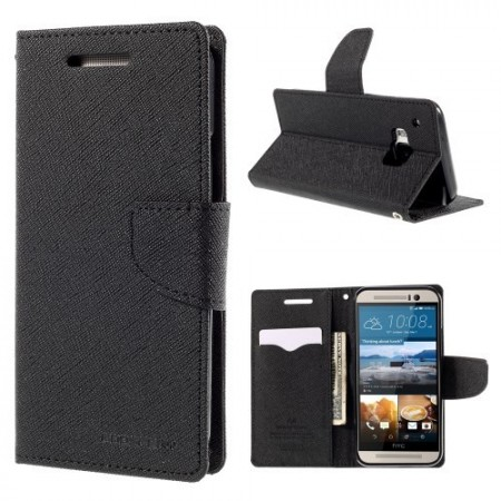 Etui m/kortlommer for HTC One M9 Mercury Svart