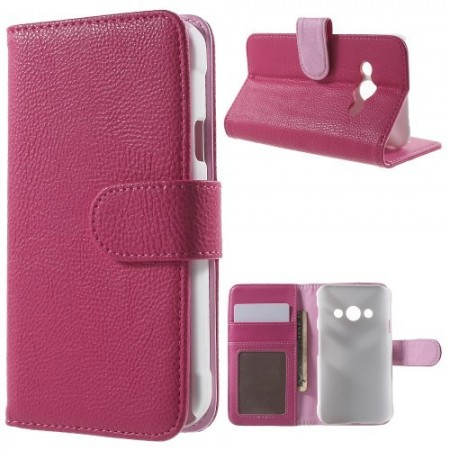 Etui m/kortlommer for Galaxy Xcover 3 Lychee Rosa