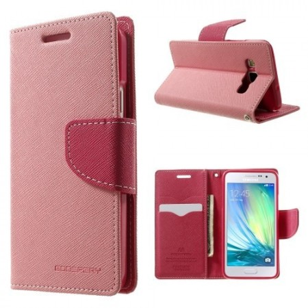 Etui m/kortlommer for Galaxy A3 Mercury Lys Rosa