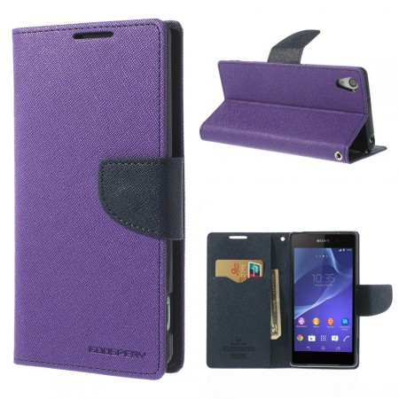 Lommebok for Sony Xperia Z1 Mercury Lilla