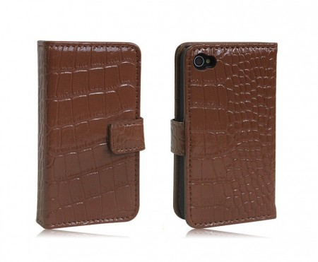 Croco Lommebok for iPhone 4/4S Brun
