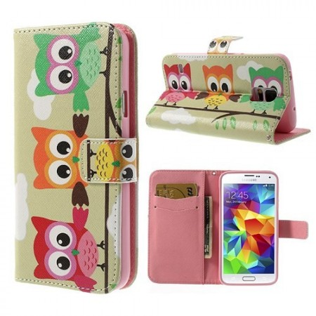 Lommebok Etui for Galaxy S5 Ugle 3