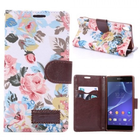 Lommebok Etui for Sony Xperia Z3 Rose Hvit