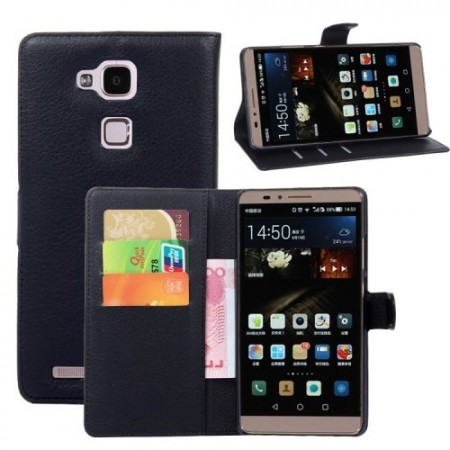 Etui for Huawei Ascend Mate7 Classic Lychee Svart