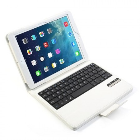 Mappe Etui for iPad Air 2 Bluetooth Tastatur Hvit
