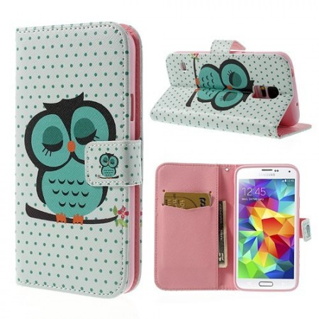 Lommebok Etui for Galaxy S5 Ugle 6