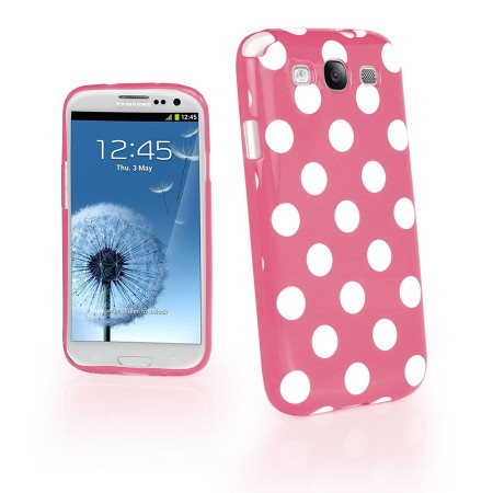 Deksel for Galaxy S3 Polka Rosa/Hvit