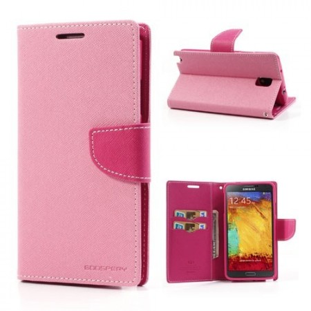 Etui for Samsung Note 3 Lommebok Mercury Lys Rosa
