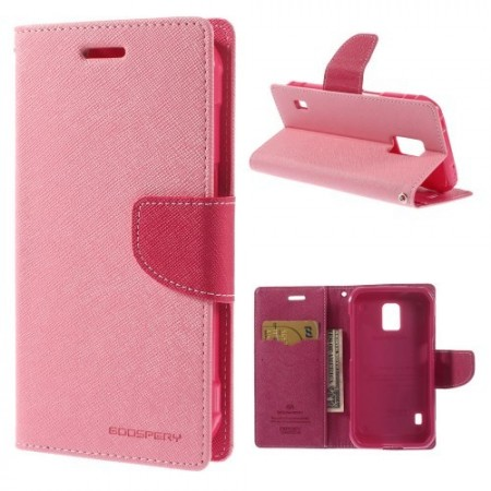 Etui m/kortlommer for Galaxy S5 Active Mercury Lys Rosa