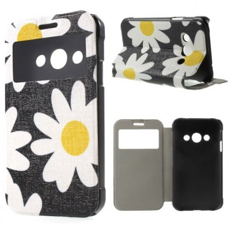 Slimbook Etui m/skjermvindu for Galaxy Xcover 3 Blomster 12