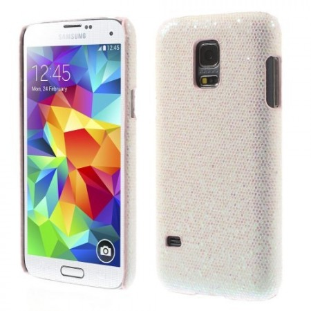 Deksel for Samsung Galaxy S5 Mini Glitter Hvit