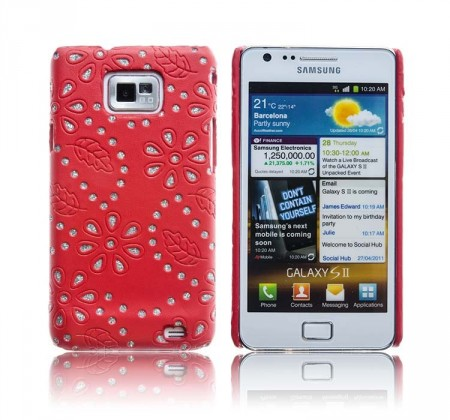Cover for Samsung Galaxy S2 Glitter Blomst Rød