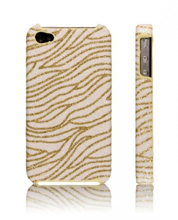 Glitzy Zebra Deksel for iPhone 4 & 4S Hvit/Gull