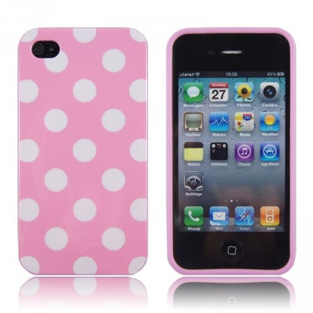 Deksel for iPhone 4 & 4S Polka Rosa/Hvit