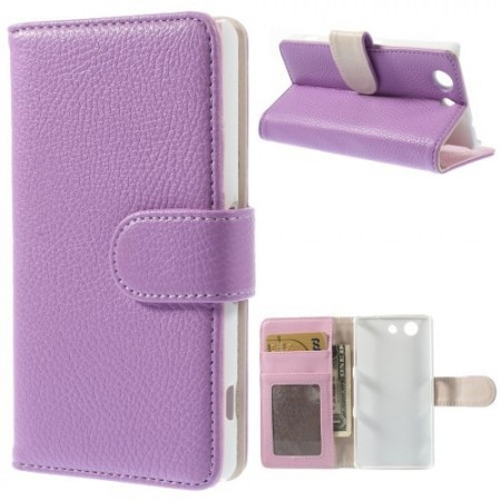Lommebok Etui for Sony Xperia Z3 Compact Lychee Lilla