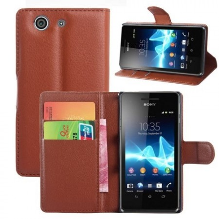 Lommebok Etui for Sony Xperia Z3 Compact Lychee Brun