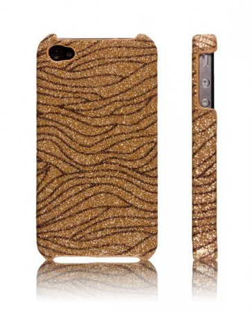 Glitzy Zebra Deksel for iPhone 4 & 4S Gull/Bronse