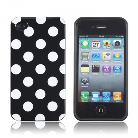 Deksel for iPhone 4 & 4S Polka Svart/Hvit