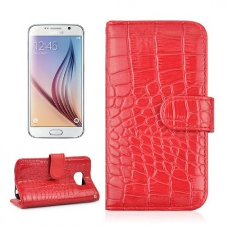 Etui m/kortlommer for Galaxy S6 Croco Rød